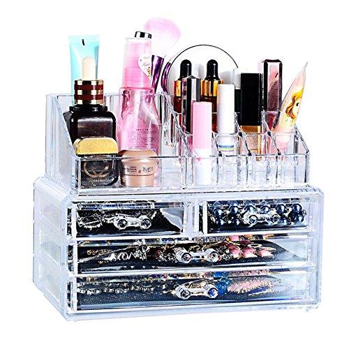 Cosmetic Organizer 4 Tier klar Acryl Make-up Organizer mit zeichnet Make-up Veranstalter Tasche kosmetische Lagerung große Multifunktions-Display-Ständer
