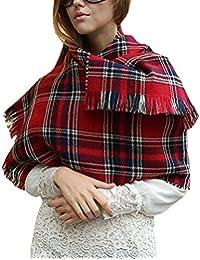 Landove Echarpe a Carreaux Femme Chale Tartan Laine Mode Etole Grande Plaid  Foulard Oversize Pashminas Shawl b035736bc03
