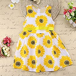 Girls Dresses, Transer® Girls Sleeveless Ruffle Dress Outfits 1-6 Years Kids Sunflower Floral Princess Dresses Toddlers Outfit Clothes