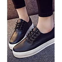NJX/ 2016 Zapatos de mujer - Tacón Plano - Comfort - Oxfords - Exterior / Casual / Deporte - Semicuero - Negro / Blanco , black-us7.5 / eu38 / uk5.5 / cn38 , black-us7.5 / eu38 / uk5.5 / cn38