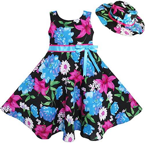 Mädchen Kleid 2 Pecs Hut Blau Blume Sommer Strand Tanzen Gr.128-134 (Kinder Hüte Für Den Sommer)