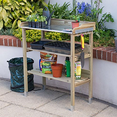 Yet another model from ?Christow, this Wooden Potting Bench is a smaller version of the Christow model above. Even with its slightly compact dimensions of 89cm H x 76.5cm W x 37cm D, the worktop has enough space for potting plants and even carrying several pots stacked together.