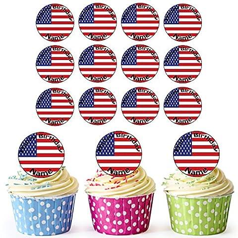 Drapeau américain 30personnalisé comestible pour cupcakes/décorations de gâteau d'anniversaire–Facile prédécoupée