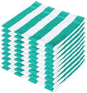 SHAMBHAVI 300 GSM 10 Piece Cotton Hand Towel Set (Green & White)