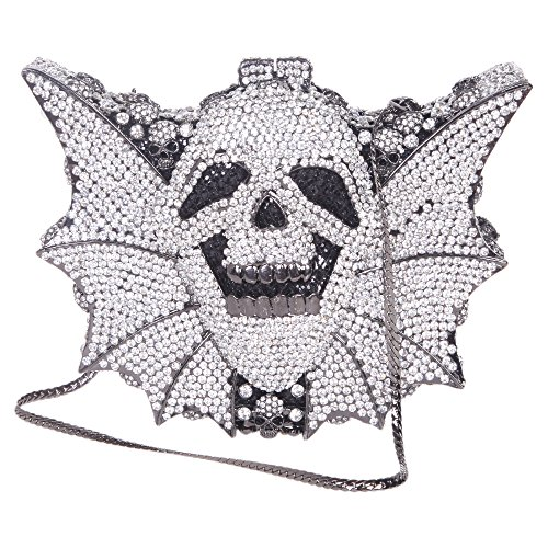 Bonjanvye Shining Skull Shape Clutch Purses and Handbags for Hollaween Party AB Silver Black