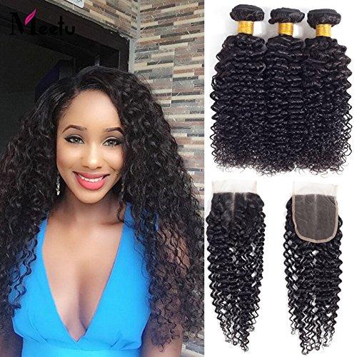Brazilian kinky capelli ricci con chiusura brasiliano capelli umani vergini 3pacchetti con chiusura a laccio 100% capelli umani non trasformati colore naturale