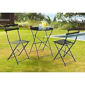 Ensemble 1 table et 2 chaises bistro acier noir