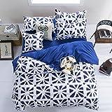 DecoKing 99711 135x200 cm Bettwäsche Kinderbettwäsche mit 1 Kissenbezug 80x80 Bettwäscheset Bettbezüge Microfaser Bettwäschegarnituren Reißverschluss Basic Collection Crack weiß blau dunkelblau