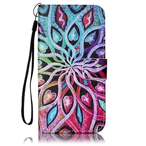 Etsue Handytasche für iPhone 6S/iPhone 6 (4.7 Zoll) lila, Brieftasche Hülle für iPhone 6S/iPhone 6 (4.7 Zoll) [Mädchen Schmetterling] Muster Lederhülle Handyhülle Einzigartig Flip Hülle Leder Schutzhü Bunt Mandala Blumen