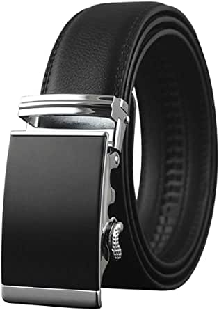 MEN'S LEATHER BELT BOXED Automatic Ratchet Buckle Belts in a Variety of Colours 1.5'' (35mm) Wide Fully Adjustable to Fit Any Waist Size up To 44''.