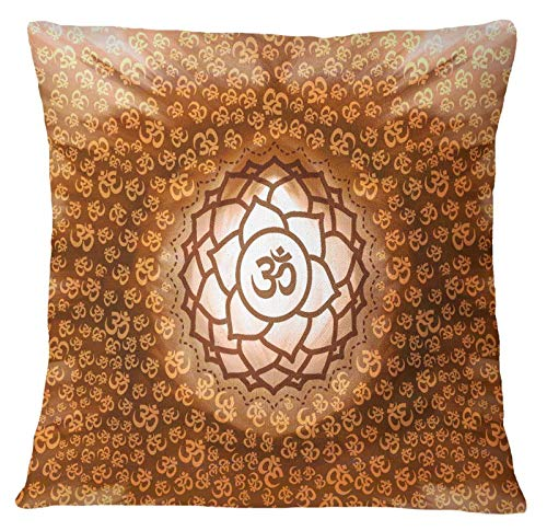 Timingila Braun Satin Kissenbezug Blume & Hindu religiösen Home Decor Kissenbezug Werfen Bedruckte Stoff Kissenbezug 1 Stck - 26 x 26 Zoll