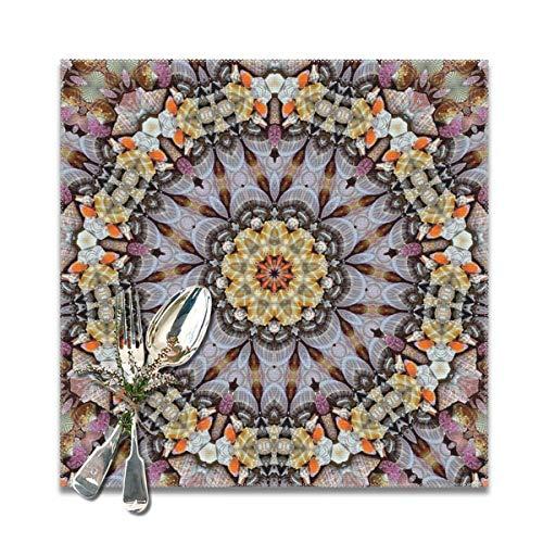 Rterss - Juego de manteles Individuales Lavables con Textura Abstracta de Mandala y caleidoscopio, con Aislamiento Antideslizante de 12 x 12 Pulgadas (6 Unidades)