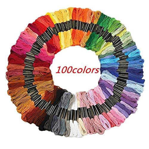 Milopon Stickgarn Embroidery Floss multifarben weicher Baumwolle perfekt für Friendship Bracelets Freundschaftsbänder Kit Stickerei Basteln Leisure Arts Kreuzstich Embroidery Threads Nähgarne Häkeln 8m (100 Farben)