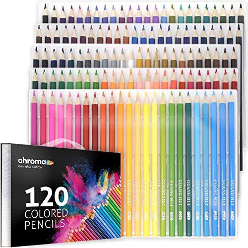 120er Pack Buntstifte Set mit praktischem Aufbewahrungsset von Chroma – 120 einzigartige Farben...