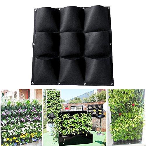 Favourall Pflanztasche – Wand-Pflanzkissen hängend vertikal Begrünung für Balkon & Terrasse Wandbegrünung mit 9 kleinen Pflanzbeuteln Grow Bag Schwarz aus Kunststoff-Filz für Kräuter und Blumen