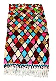 boucherouite Vintage Tribal Marokkanische handgeflochtenem Mehrfarbig groß Berber Teppich Diamond Teppich Patchwork–7.05X 3.37FT (2,15x 1,03Meter)