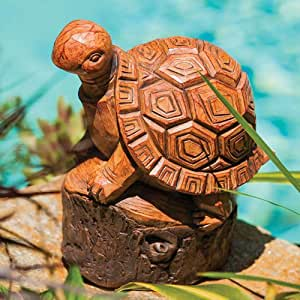 Forest Friend Wood Carved Turtle Statue