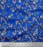 Soimoi Blau Viskose Chiffon Stoff Beeren, Blätter und
