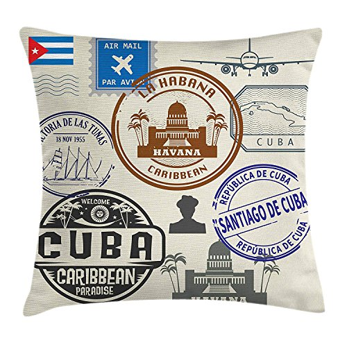 Havana Throw Pillow Cushion Cover, Travel Concept Passport Stamp Design of Cuban Cities and Landmarks, Decorative Square Accent Pillow Case, 18 X 18 inches, Cobalt Blue Grey and Dimgrey - Cobalt Blue Candy
