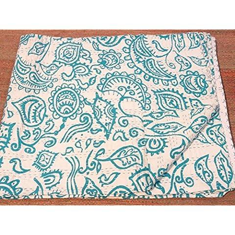Tribal cinese, stampa tribale Textiles-Piumone matrimoniale Kantha, Kantha coperta letto, Copriletto Kantha, Bohemian Bedding Kantha misura 228,60 cm x (90