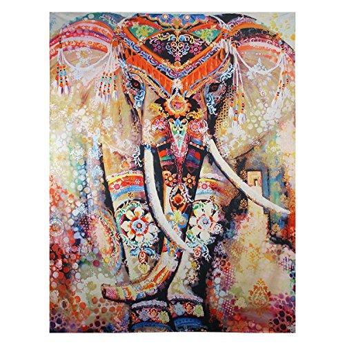 Bett Blatt Königin Baumwolle (Dremisland Tapisserie wandteppich Elefanten Indische Hippie Mandala Böhmische Orientalisch Wand Hängende Dekor wandtuch wandbehang Tapestry(M/150*130cm, Orange Elefant))