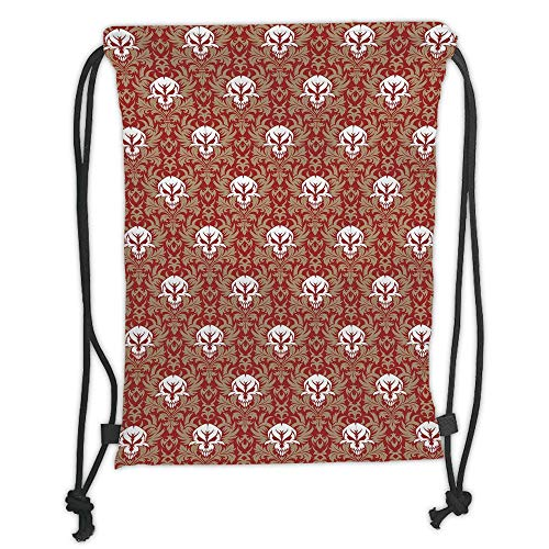 LULUZXOA Gym Bag Printed Drawstring Sack Backpacks Bags,Gothic,Baroque Pattern with Floral Curves Old Fashioned Antique Design Skull Motifs Decorative,Ruby Cocoa White Soft Satinr -