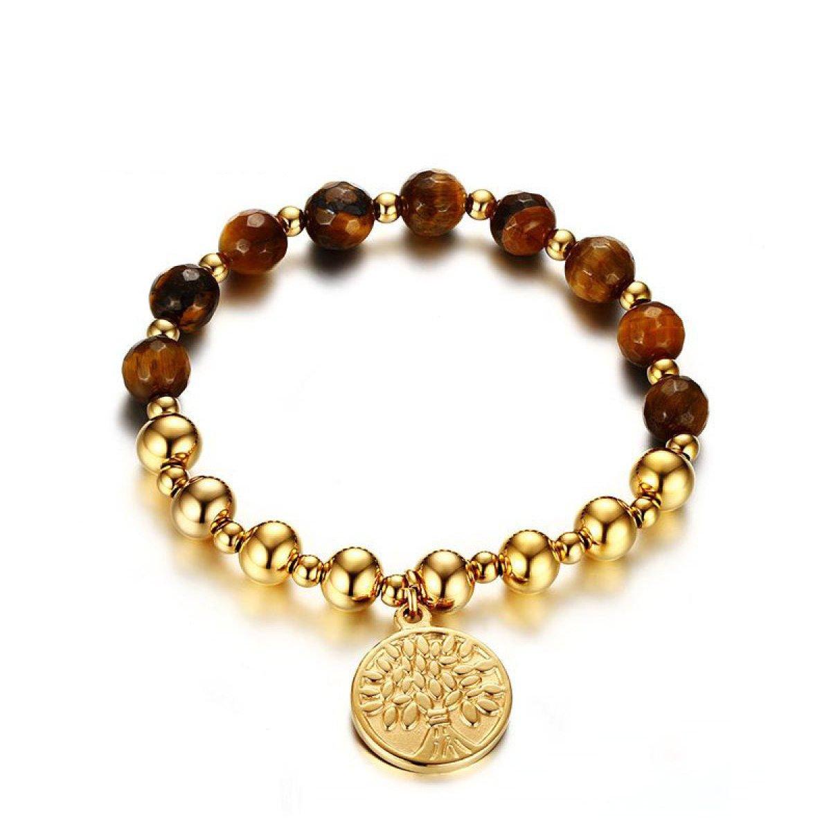 WenL Inossidabile Delle Donne Dell'albero Di Vita Tag Gold Bracelet