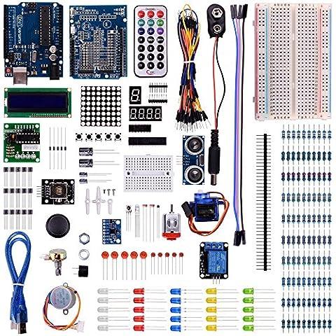 Kuman K31 Starter apprentissage kit Uno avec écran LCD et d'une alimentation dédiée approvisionnement adaptateur 9V 1A pour Arduino +câble USB