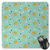 HYYCLS Hedgehog Mauspads, Scandinavian Art Pattern Forest Elements Pine Trees Leafless Branches Countryside, Standard Si