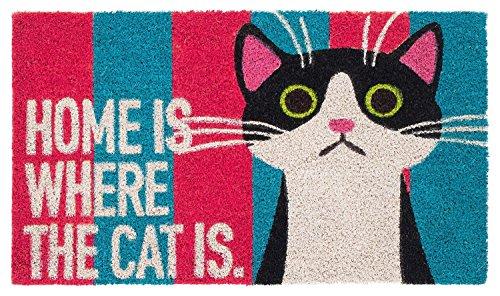 Schmutzfangmatte / Fußmatte / Fussmatte / Fußabstreifer / Fußabtreter / Kokos / Kokosmatte / Schmutzmatte Modell Katze - Katzenfussmatte - Home is where the cat is - Größe : 40 x 60 cm