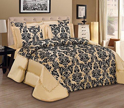 3tlg. Beige Tagesdecke 240x260cm Bettüberwurf Moderne Taft Samt Flockdruck Barock Bettdecke Ornamente (Damast Samt Bettdecke)