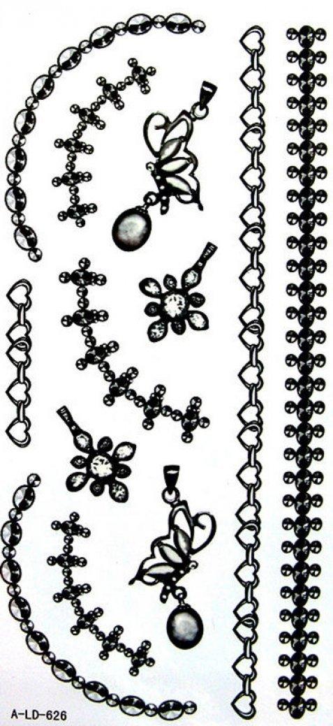 Temp. nero gioielli bracciale tatuaggi farfalla ciondolo SPESTYLE impermeabile tatuaggio temporaneo