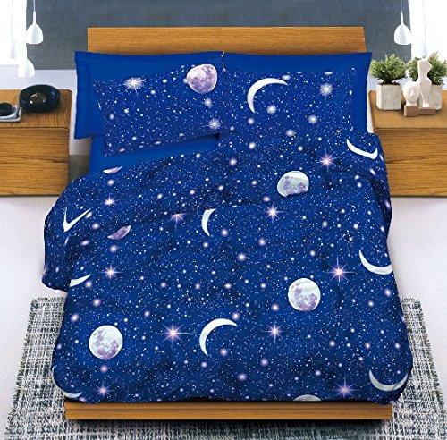 Smartsupershop Couette Simple (Une Place) - Lune & Étoiles - Sac Couette Idée Cadeau Produit Italien - Fabriqué en Italie
