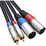 TISINO câble double RCA vers XLR, 2 RCA vers 2 XLR mâle connexion audio stéréo HiFi câble de microphone câble de chemin de câ