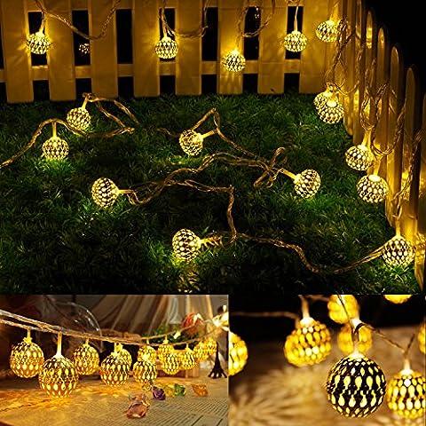 5m 20 LED Ball Lichterkette String Lights für Außen Landschaft,