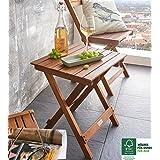 SAM® Mesita en madera de acacia, lijada en superficie, mesa plegable ideal para balcón, terraza y jardín, madera maciza, certificada FSC® 100%