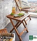 SAM® Akazie-Holz Beistelltisch, FSC® 100% zertifiziert, Serviertisch mit mehrfach geschliffener Oberfläche, massives Hartholz, zusammenklappbarer Ständer, ideal für Balkon, Terrasse und Garten