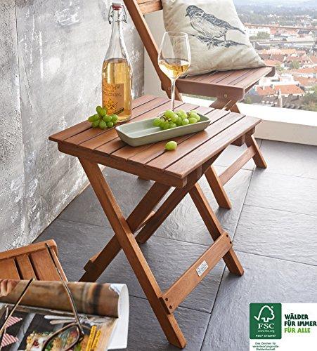 SAM® Akazie-Holz Beistelltisch, FSC® 100% zertifiziert, Serviertisch mit mehrfach geschliffener Oberfläche, massives Hartholz, zusammenklappbarer Ständer, ideal für Balkon, Terrasse und Garten (Klapptische Mit Ständer)