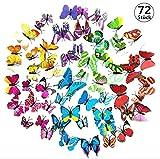 FungLam 3D Schmetterling Wandsticker Wandaufkleber Aufkleber Wandtattoo Wanddeko für Dekoration - 72 Stück (12 Mehrfarbig + 12 Grün + 12 Rosa + 12 Gelb + 12 Lila + 12 Blau)