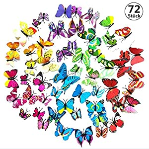 3D Schmetterling Aufkleber Wandsticker Wandaufkleber Wandtattoo Wanddeko für Dekoration – 72 Stück (12 Mehrfarbig + 12…