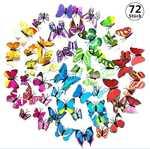 3D Schmetterling Aufkleber Wandsticker Wandaufkleber Wandtattoo Wanddeko für Dekoration - 72 Stück (12 Mehrfarbig + 12 Grün + 12 Rosa + 12 Gelb + 12 Lila + 12 Blau)
