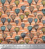 Soimoi Orange Viskose Chiffon Stoff Wolke & Heißluftballon