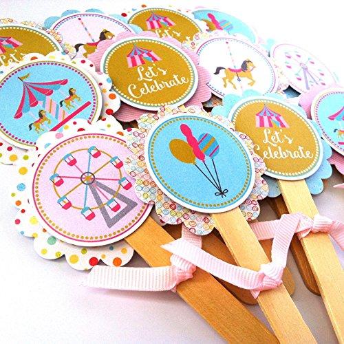 Adorebynat Party Decorations - EU Karussell-Kuchen-Deckel - Mädchen-Geburtstags-Baby-Duschen-Partei liefert - Set 12