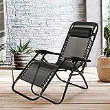 Merax Sonnenliege klappbare und verstellbar Gartenliege Strandliege Relax-Liegestuhl mit Kopfkissen (Schwarz)