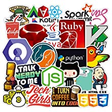 Sticker Pack Cool Stickers 108PCS Fashion Brand Stickers for Laptop Stickers Motorcycle Bicycle Skateboard Luggage Decal Graffiti Patches Stickers for [No-Duplicate Sticker Pack] (Programmer)