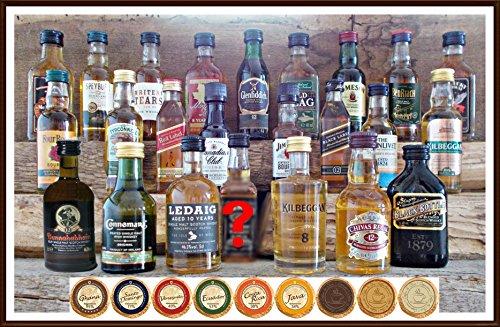 24 Whisky Miniaturen aus Schottland Irland USA Kanada mit 24 DreiMeister Edel Schokoladen, kostenloser Versand Schokolade Kanada