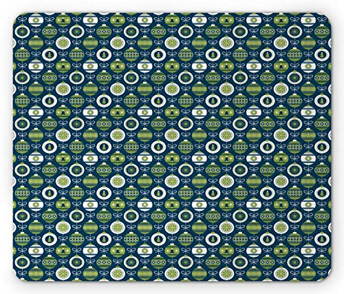WYICPLO Christmas Mouse Pad, Merry Noel Tree Ornaments Ribbon Happy New Year Holiday, Standard Size Rectangle Non-Slip Rubber Mousepad, Dark Violet Blue Lime Green White