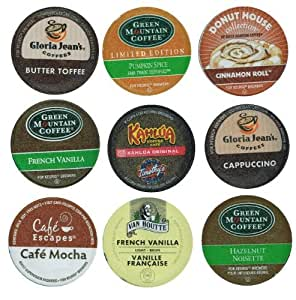 18 Pack - Limited Edition Fall Flavors Coffee Variety Pack of K-Cups for Keurig Brewers - Pumpkin Spice, Butter Toffee, Cinnamon, French Vanilla, Mocha, Cappuccino and Hazelnut flavored- from Timothy's, Gloria Jeans, Donut House Collection, Van Houtte, Garden, Maison, Jardin, Pelouse, La maintenance