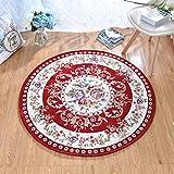 QROU Moderner minimalistischer Entwurfs-Jacquard Fertig Teppich, Wohnzimmertisch Schlafzimmerheim Teppich, runder Teppich und Rutschfeste Matte-Rot