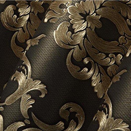 6. Loaest Tapete Im Europäischen Stil Geprägt Gold Hot Stereo Damaskus  Schlafzimmer Wohnzimmer TV Hintergrund 3D Pearl Vliestapete, Braun